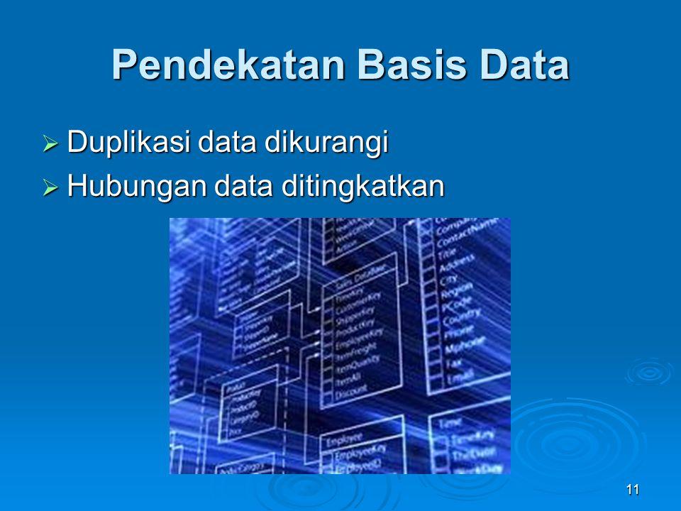 Pendekatan Basis Data  Duplikasi data dikurangi  Hubungan data ditingkatkan 11