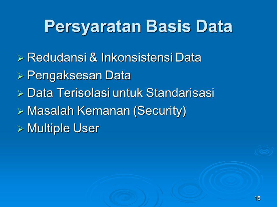 Persyaratan Basis Data  Redudansi & Inkonsistensi Data  Pengaksesan Data  Data Terisolasi untuk Standarisasi  Masalah Kemanan (Security)  Multipl
