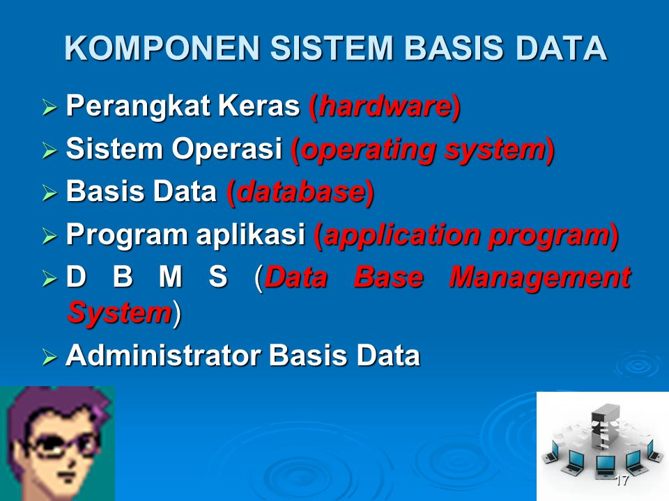 KOMPONEN SISTEM BASIS DATA  Perangkat Keras (hardware)  Sistem Operasi (operating system)  Basis Data (database)  Program aplikasi (application pr