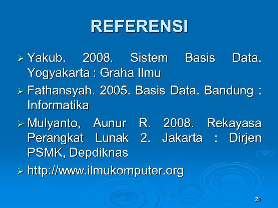 REFERENSI  Yakub. 2008. Sistem Basis Data. Yogyakarta : Graha Ilmu  Fathansyah. 2005. Basis Data. Bandung : Informatika  Mulyanto, Aunur R. 2008. R