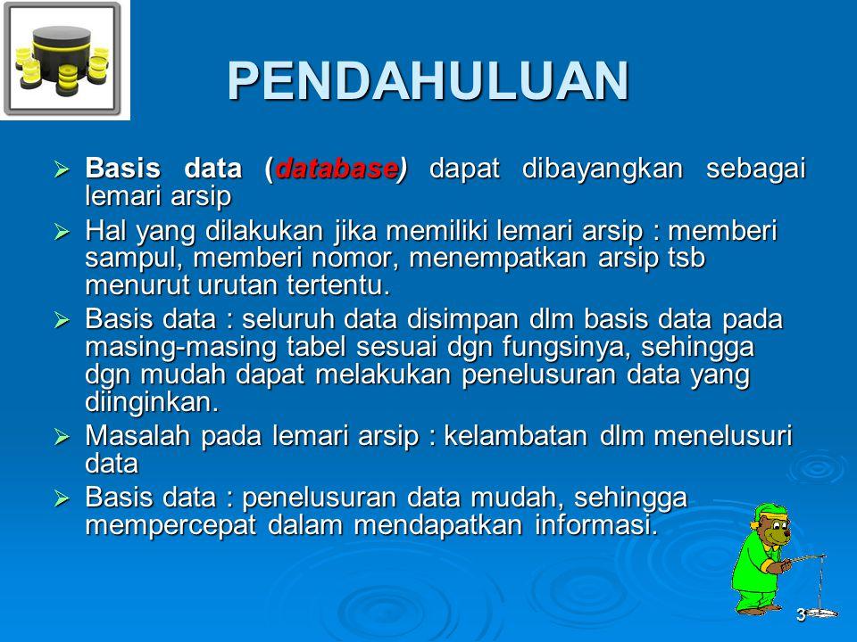 PENDAHULUAN  Basis data (database) dapat dibayangkan sebagai lemari arsip  Hal yang dilakukan jika memiliki lemari arsip : memberi sampul, memberi n