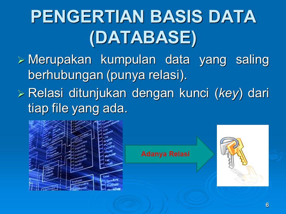 PENGERTIAN BASIS DATA (DATABASE)  Merupakan kumpulan data yang saling berhubungan (punya relasi).  Relasi ditunjukan dengan kunci (key) dari tiap fi