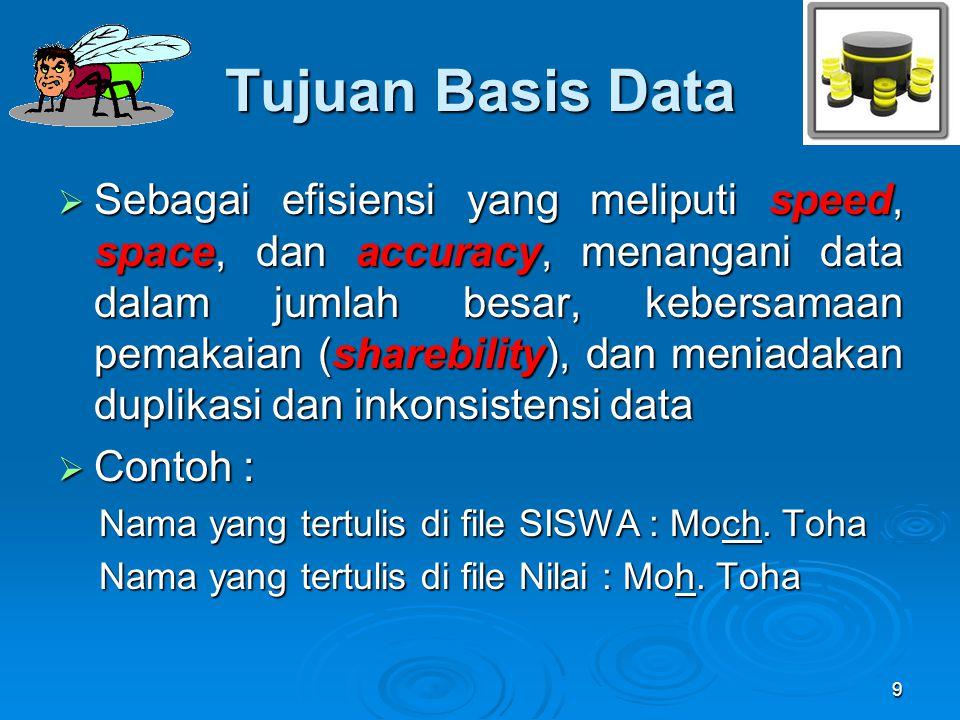 Tujuan Basis Data  Sebagai efisiensi yang meliputi speed, space, dan accuracy, menangani data dalam jumlah besar, kebersamaan pemakaian (sharebility)