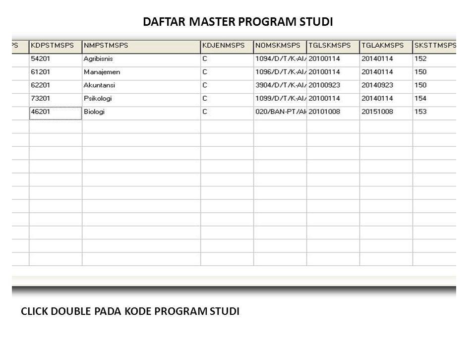 DAFTAR MASTER PROGRAM STUDI CLICK DOUBLE PADA KODE PROGRAM STUDI