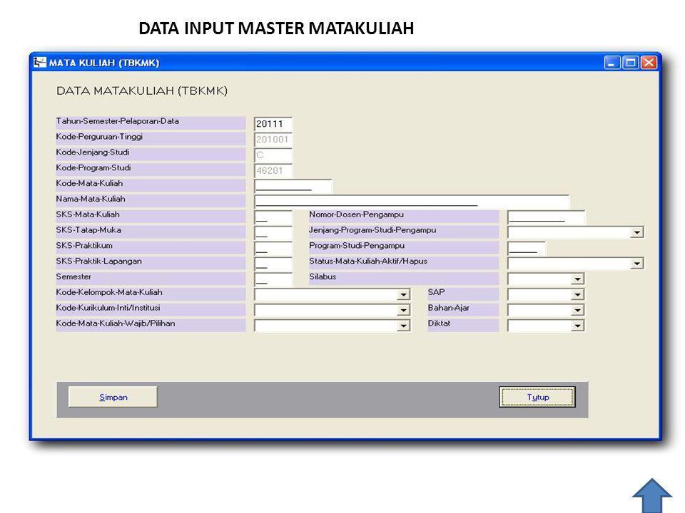 DATA INPUT MASTER MATAKULIAH
