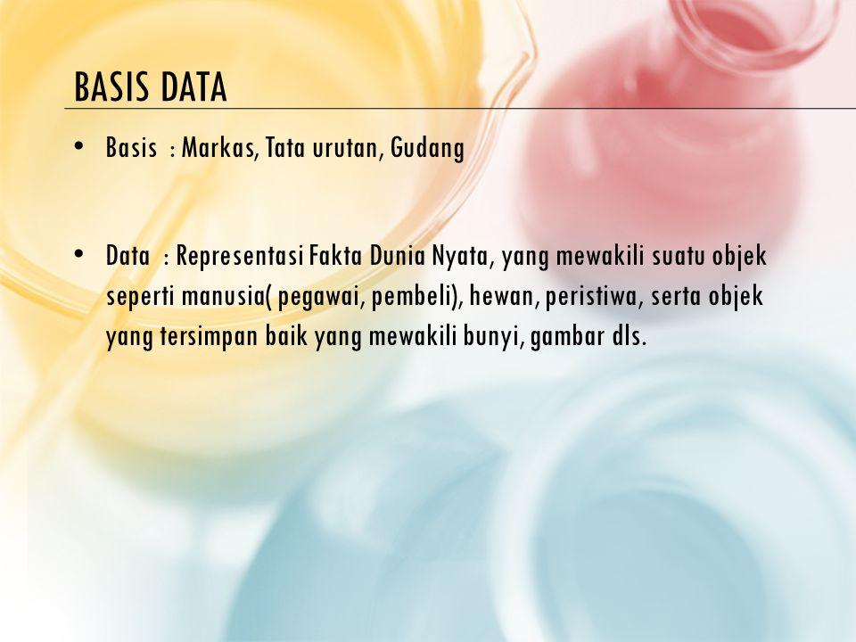BASIS DATA Basis : Markas, Tata urutan, Gudang Data : Representasi Fakta Dunia Nyata, yang mewakili suatu objek seperti manusia( pegawai, pembeli), hewan, peristiwa, serta objek yang tersimpan baik yang mewakili bunyi, gambar dls.
