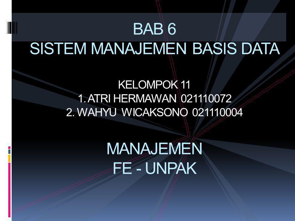 BAB 6 SISTEM MANAJEMEN BASIS DATA KELOMPOK 11 1.ATRI HERMAWAN 021110072 2.
