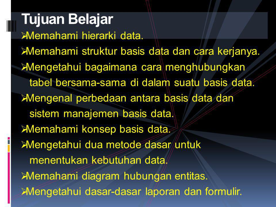  Memahami hierarki data. Memahami struktur basis data dan cara kerjanya.