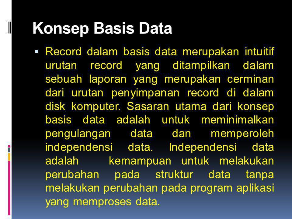 Konsep Basis Data  Record dalam basis data merupakan intuitif urutan record yang ditampilkan dalam sebuah laporan yang merupakan cerminan dari urutan penyimpanan record di dalam disk komputer.
