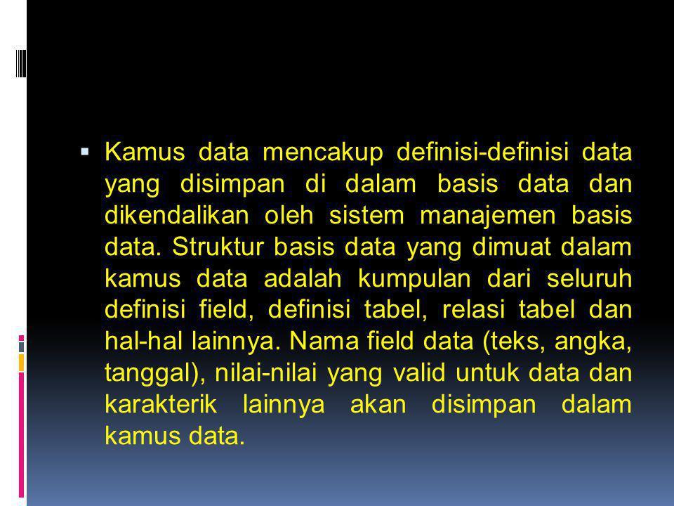  Kamus data mencakup definisi-definisi data yang disimpan di dalam basis data dan dikendalikan oleh sistem manajemen basis data. Struktur basis data