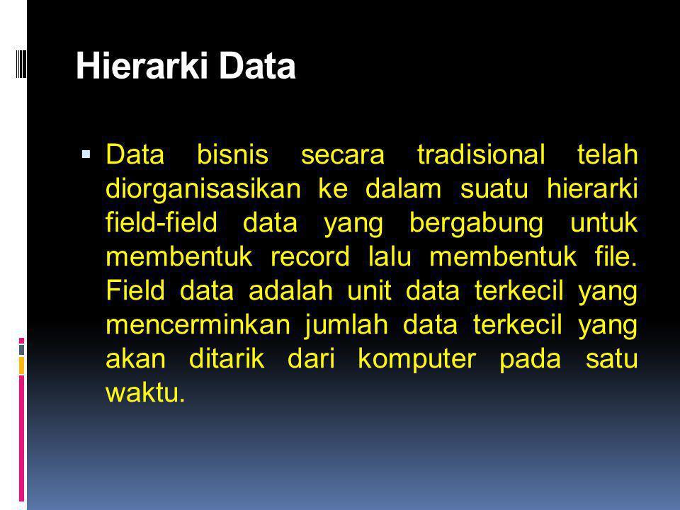 Hierarki Data  Data bisnis secara tradisional telah diorganisasikan ke dalam suatu hierarki field-field data yang bergabung untuk membentuk record la
