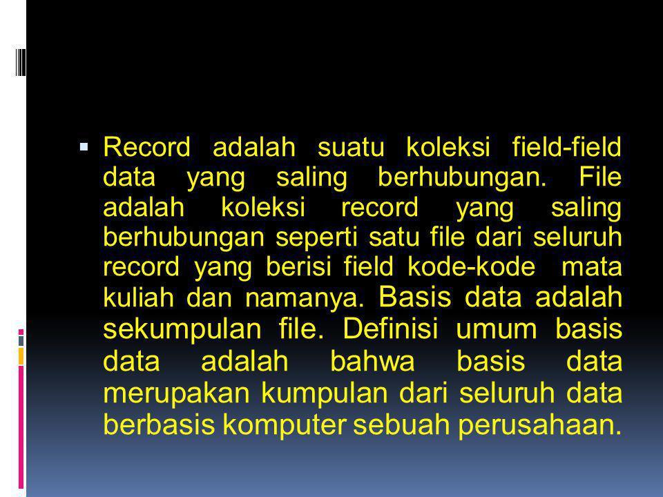  Record adalah suatu koleksi field-field data yang saling berhubungan. File adalah koleksi record yang saling berhubungan seperti satu file dari selu