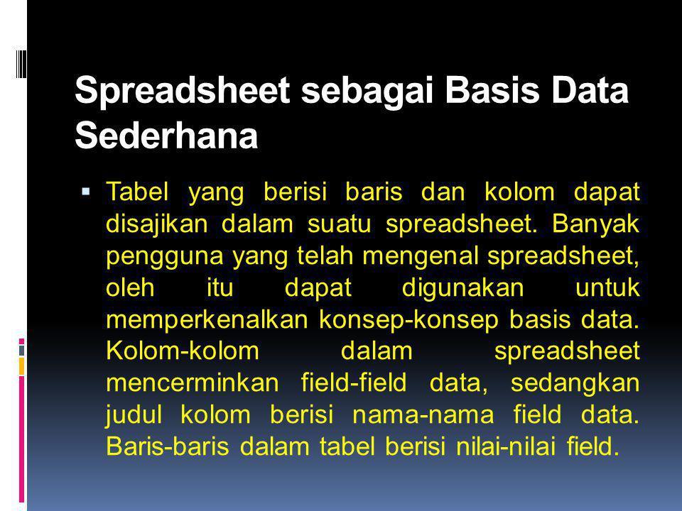 Spreadsheet sebagai Basis Data Sederhana  Tabel yang berisi baris dan kolom dapat disajikan dalam suatu spreadsheet. Banyak pengguna yang telah menge
