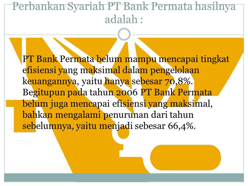 PT Bank Permata Tbk (2005-2007) Input : Dana Pihak Ke-3, Kewajiban, Bank Lain, Dana Bagi Hasil, dan Biaya Operasional.