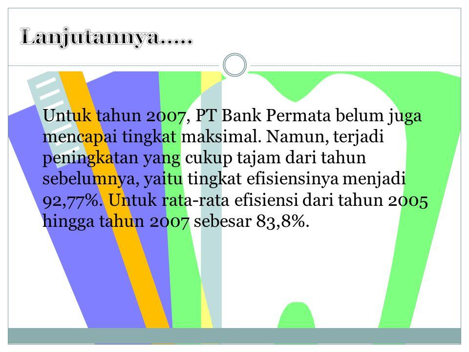 Dari Pengolahan Data pada Perusahaan Perbankan Syariah PT Bank Permata hasilnya adalah : PT Bank Permata belum mampu mencapai tingkat efisiensi yang maksimal dalam pengelolaan keuangannya, yaitu hanya sebesar 70,8%.