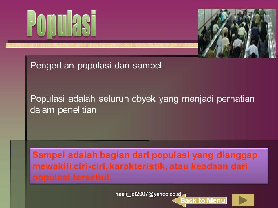 nasir_ict2007@yahoo.co.id Pengertian populasi dan sampel. Populasi adalah seluruh obyek yang menjadi perhatian dalam penelitian Sampel adalah bagian d