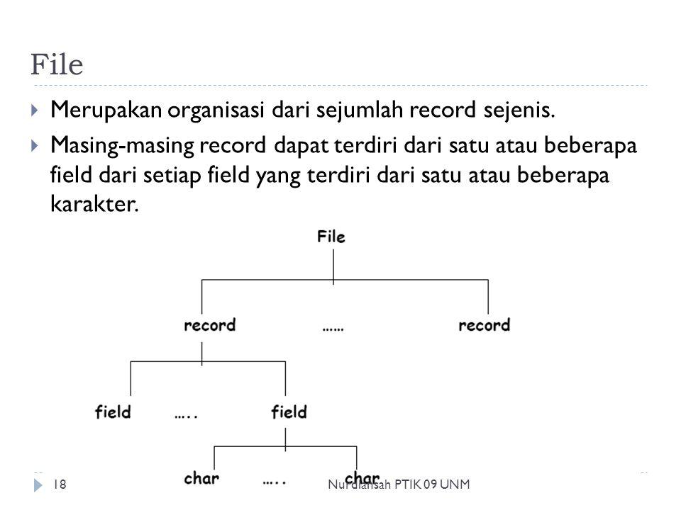 File  Merupakan organisasi dari sejumlah record sejenis.  Masing-masing record dapat terdiri dari satu atau beberapa field dari setiap field yang te