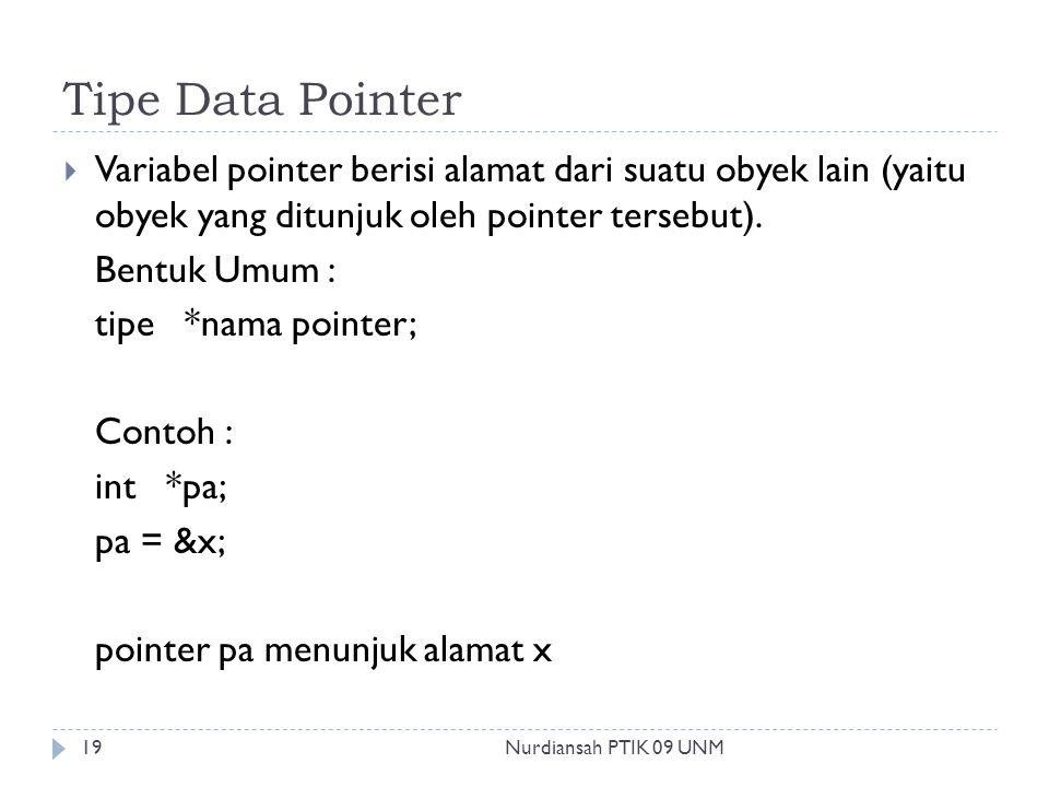 Tipe Data Pointer  Variabel pointer berisi alamat dari suatu obyek lain (yaitu obyek yang ditunjuk oleh pointer tersebut). Bentuk Umum : tipe *nama p