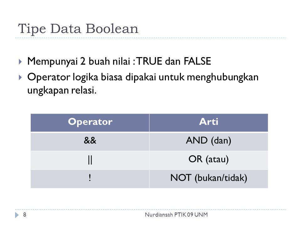 Tipe Data Boolean  Mempunyai 2 buah nilai : TRUE dan FALSE  Operator logika biasa dipakai untuk menghubungkan ungkapan relasi. OperatorArti &&AND (d