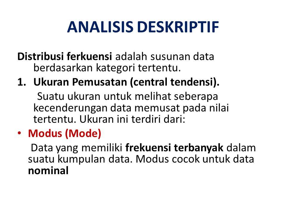 ANALISIS DESKRIPTIF Distribusi ferkuensi adalah susunan data berdasarkan kategori tertentu. 1.Ukuran Pemusatan (central tendensi). Suatu ukuran untuk