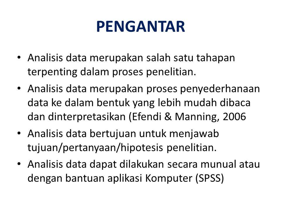 PENGANTAR Analisis data merupakan salah satu tahapan terpenting dalam proses penelitian. Analisis data merupakan proses penyederhanaan data ke dalam b
