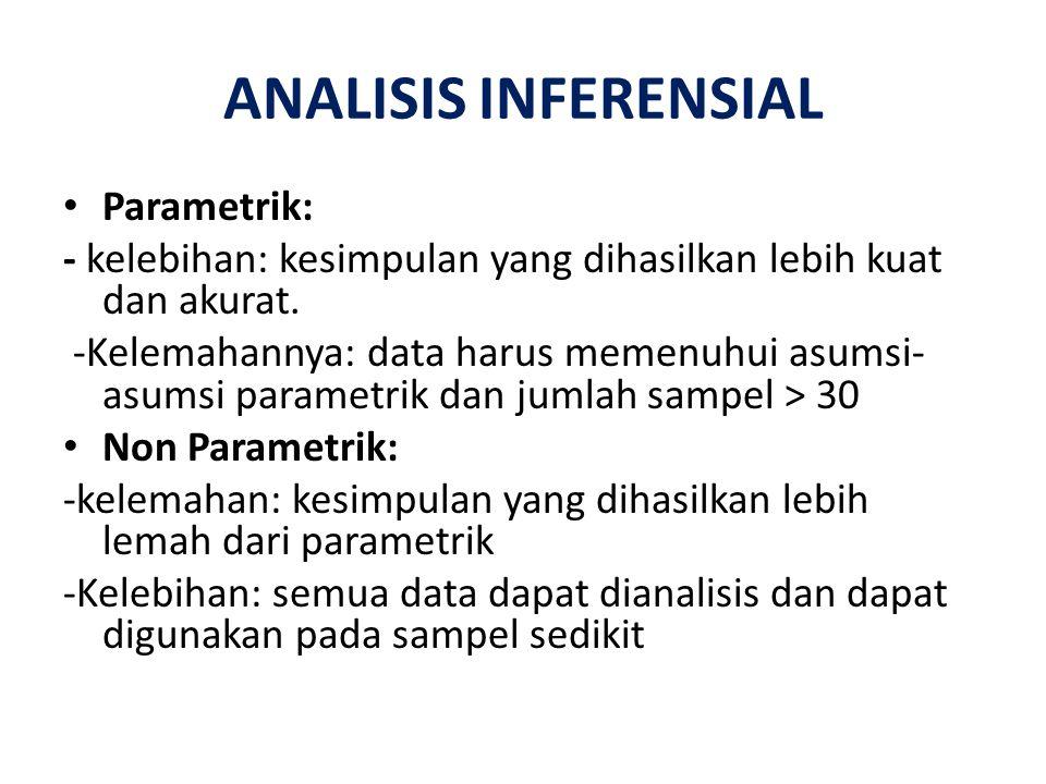 ANALISIS INFERENSIAL Parametrik: - kelebihan: kesimpulan yang dihasilkan lebih kuat dan akurat. -Kelemahannya: data harus memenuhui asumsi- asumsi par