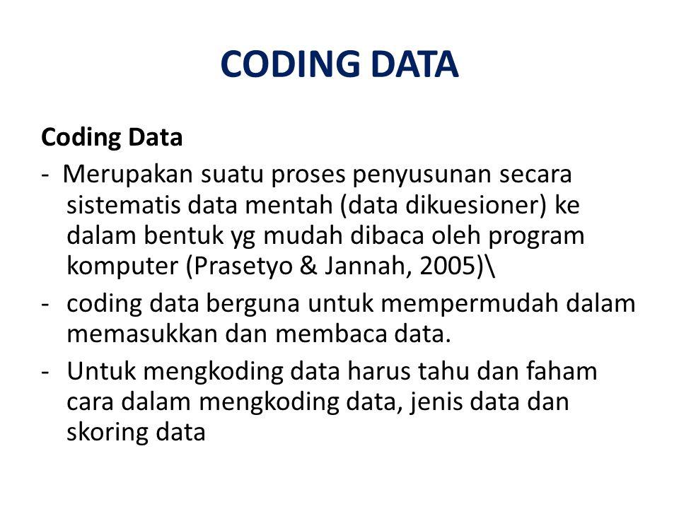 CODING DATA Coding Data - Merupakan suatu proses penyusunan secara sistematis data mentah (data dikuesioner) ke dalam bentuk yg mudah dibaca oleh prog