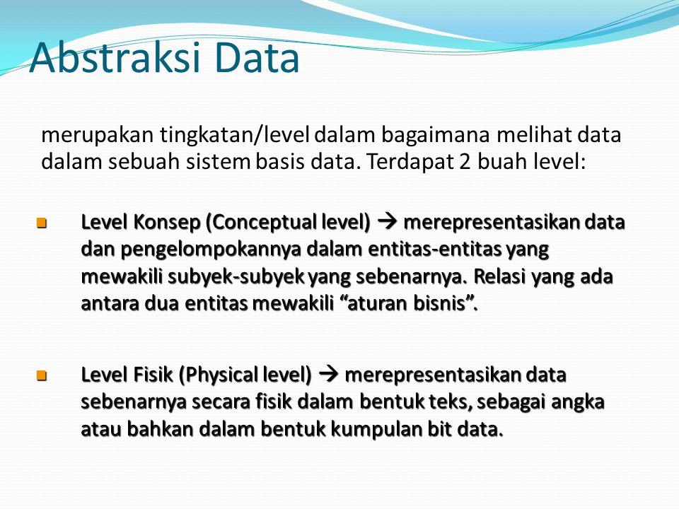 Abstraksi Data merupakan tingkatan/level dalam bagaimana melihat data dalam sebuah sistem basis data. Terdapat 2 buah level: Level Konsep (Conceptual