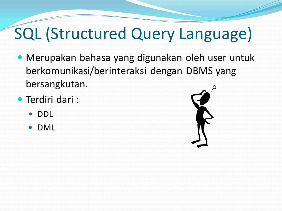 SQL (Structured Query Language) Merupakan bahasa yang digunakan oleh user untuk berkomunikasi/berinteraksi dengan DBMS yang bersangkutan. Terdiri dari