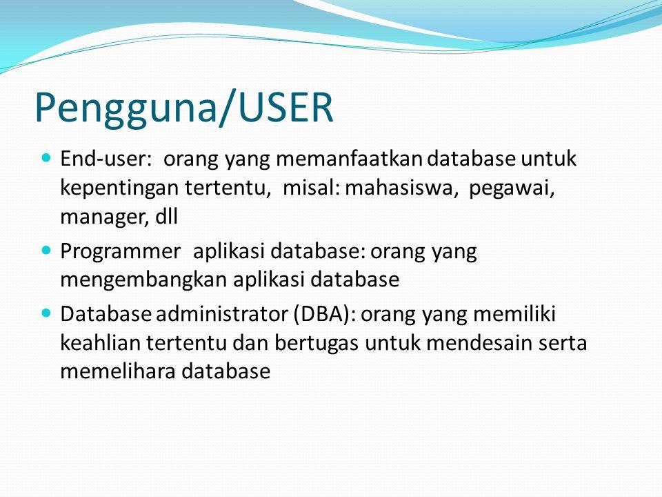 Pengguna/USER End-user: orang yang memanfaatkan database untuk kepentingan tertentu, misal: mahasiswa, pegawai, manager, dll Programmer aplikasi datab