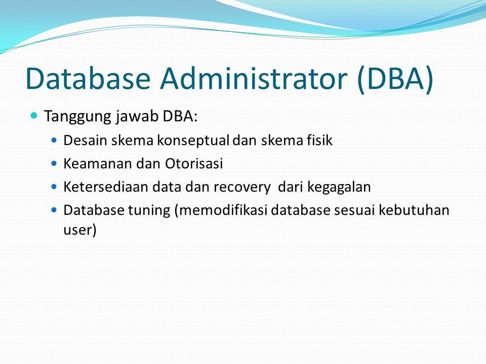 Database Administrator (DBA) Tanggung jawab DBA: Desain skema konseptual dan skema fisik Keamanan dan Otorisasi Ketersediaan data dan recovery dari ke