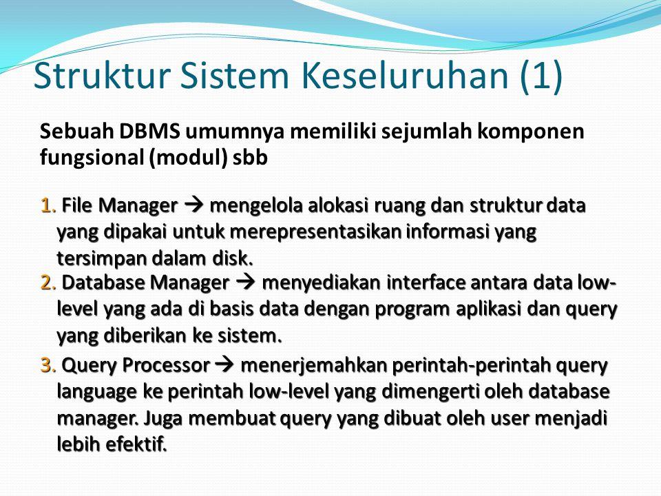Struktur Sistem Keseluruhan (1) Sebuah DBMS umumnya memiliki sejumlah komponen fungsional (modul) sbb 1. File Manager  mengelola alokasi ruang dan st