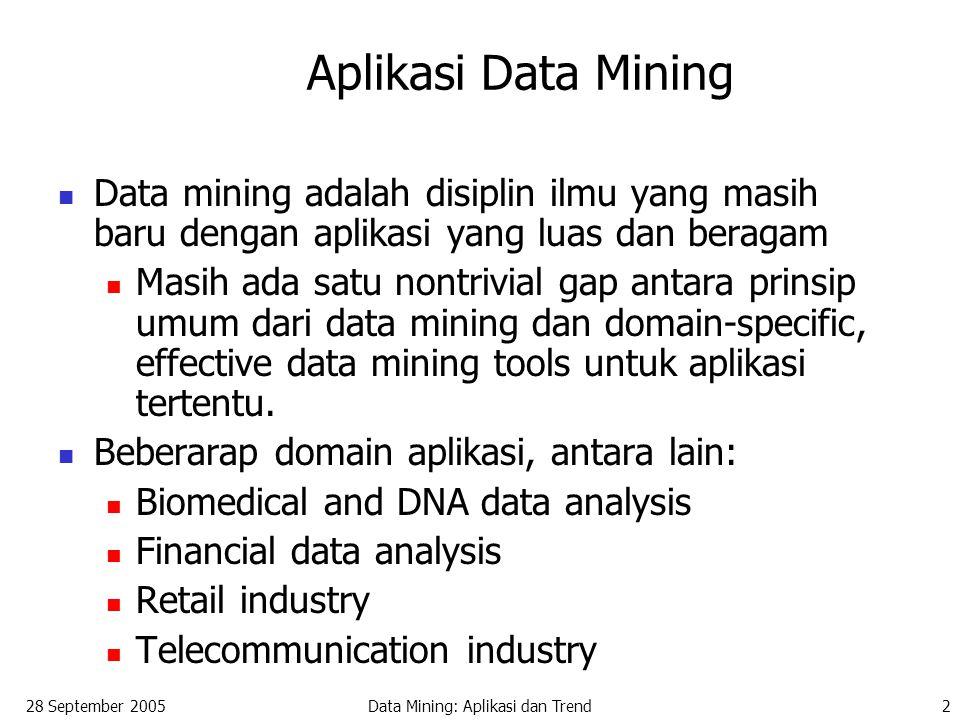 28 September 2005Data Mining: Aplikasi dan Trend2 Aplikasi Data Mining Data mining adalah disiplin ilmu yang masih baru dengan aplikasi yang luas dan