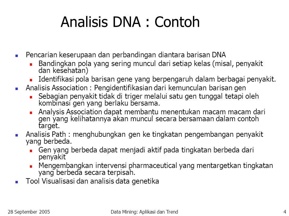 28 September 2005Data Mining: Aplikasi dan Trend4 Analisis DNA : Contoh Pencarian keserupaan dan perbandingan diantara barisan DNA Bandingkan pola yang sering muncul dari setiap kelas (misal, penyakit dan kesehatan) Identifikasi pola barisan gene yang berpengaruh dalam berbagai penyakit.