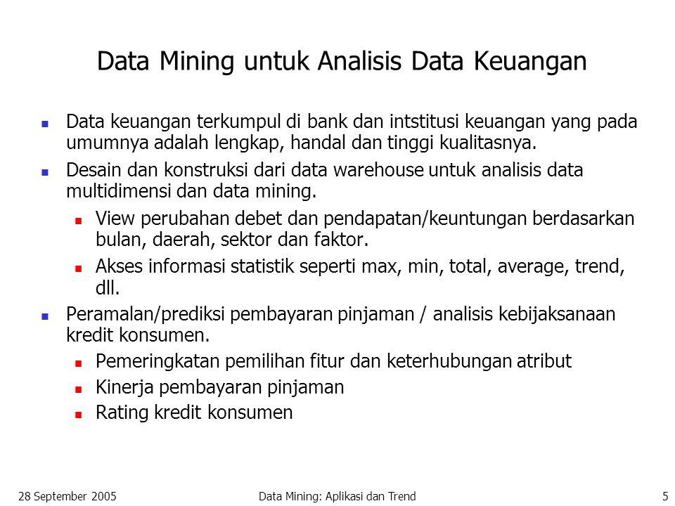 28 September 2005Data Mining: Aplikasi dan Trend5 Data Mining untuk Analisis Data Keuangan Data keuangan terkumpul di bank dan intstitusi keuangan yan