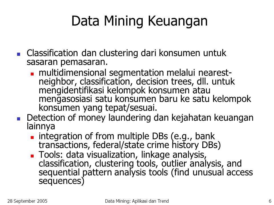 28 September 2005Data Mining: Aplikasi dan Trend6 Data Mining Keuangan Classification dan clustering dari konsumen untuk sasaran pemasaran. multidimen