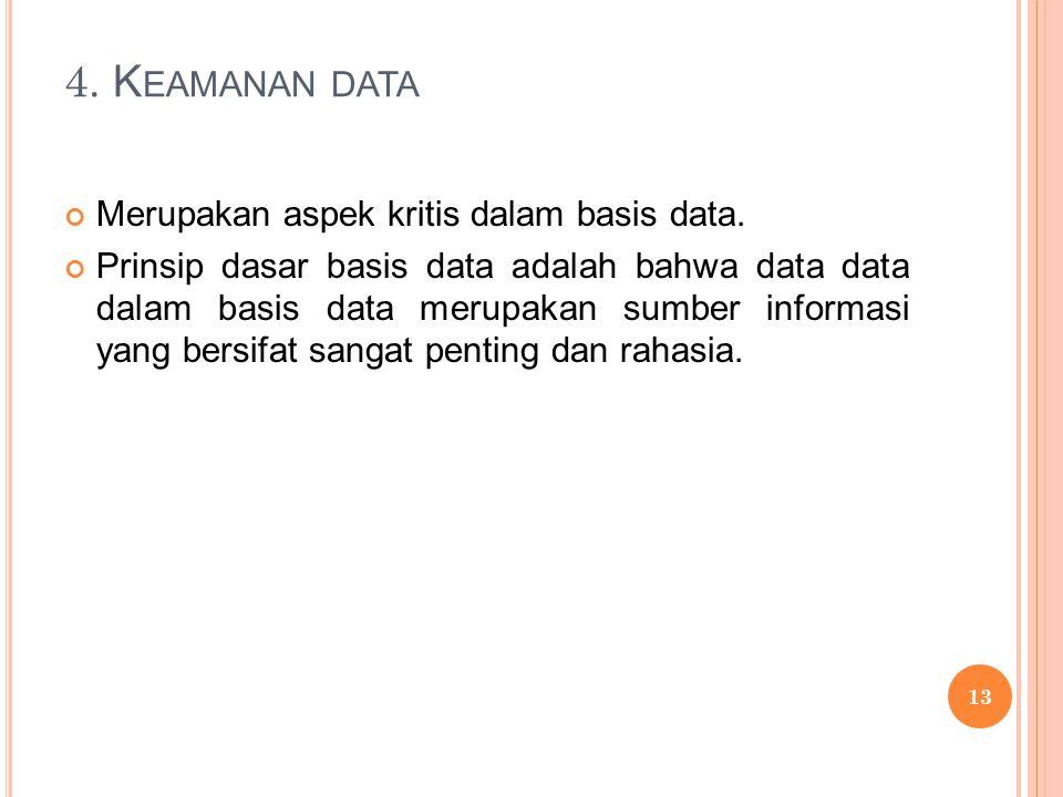 4. K EAMANAN DATA Merupakan aspek kritis dalam basis data.