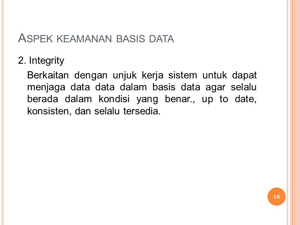 A SPEK KEAMANAN BASIS DATA 2.