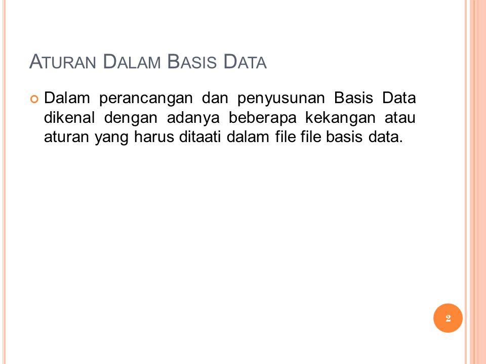 Dalam perancangan dan penyusunan Basis Data dikenal dengan adanya beberapa kekangan atau aturan yang harus ditaati dalam file file basis data.