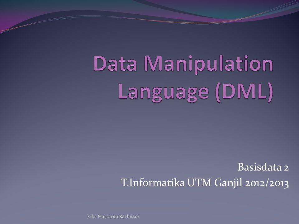 Basisdata 2 T.Informatika UTM Ganjil 2012/2013 Fika Hastarita Rachman