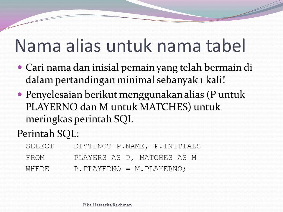 Nama alias untuk nama tabel Cari nama dan inisial pemain yang telah bermain di dalam pertandingan minimal sebanyak 1 kali.