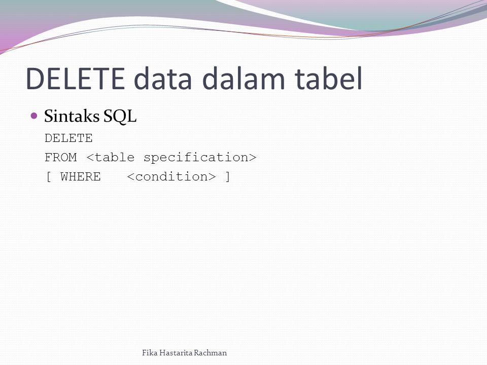DELETE data dalam tabel Sintaks SQL DELETE FROM [ WHERE ] Fika Hastarita Rachman
