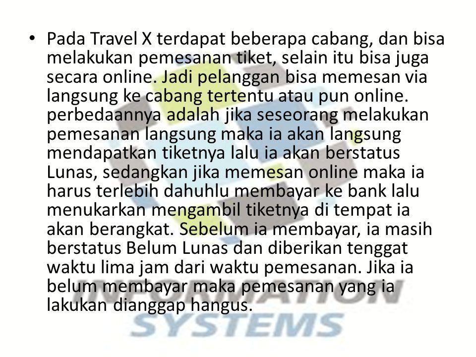 Pada Travel X terdapat beberapa cabang, dan bisa melakukan pemesanan tiket, selain itu bisa juga secara online. Jadi pelanggan bisa memesan via langsu
