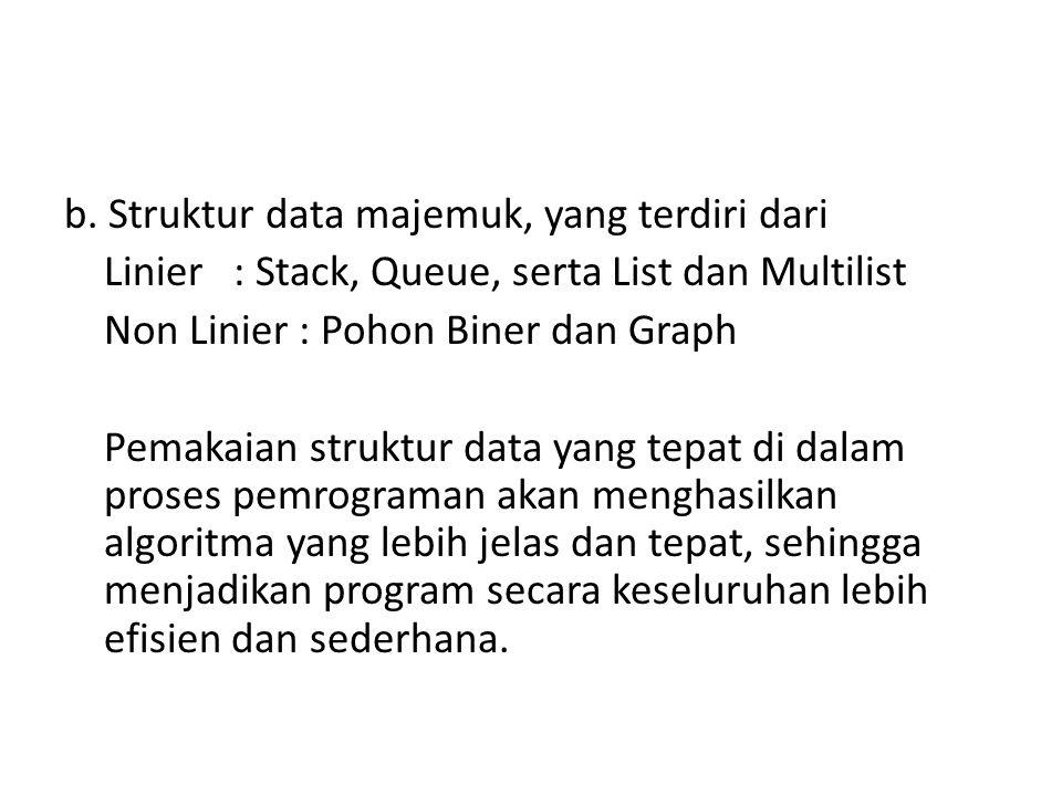 b. Struktur data majemuk, yang terdiri dari Linier : Stack, Queue, serta List dan Multilist Non Linier : Pohon Biner dan Graph Pemakaian struktur data