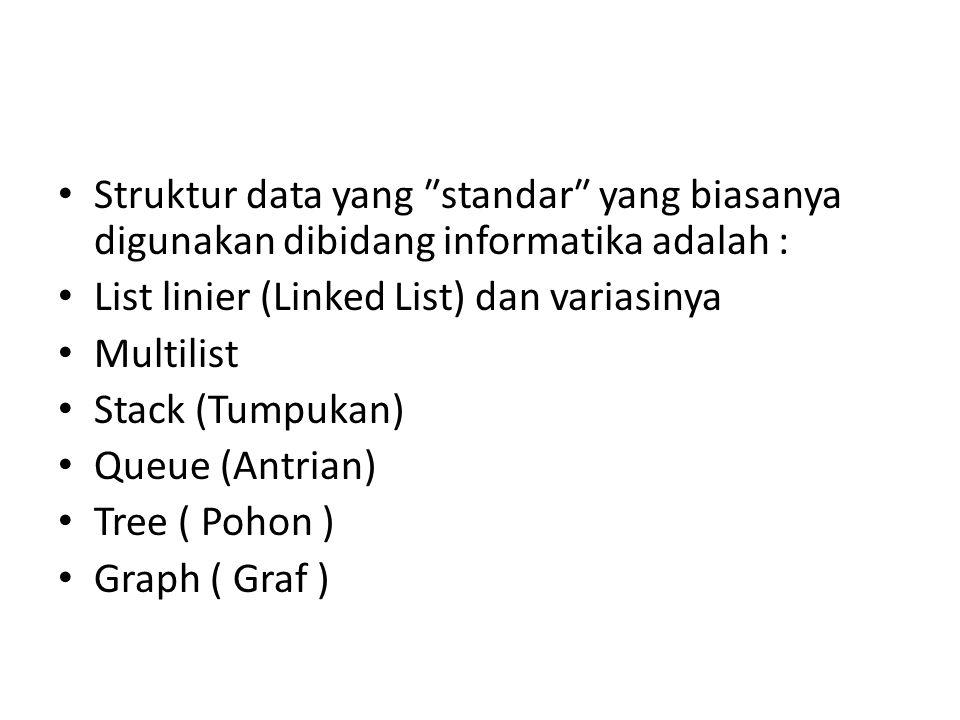 Struktur data yang ″standar″ yang biasanya digunakan dibidang informatika adalah : List linier (Linked List) dan variasinya Multilist Stack (Tumpukan)