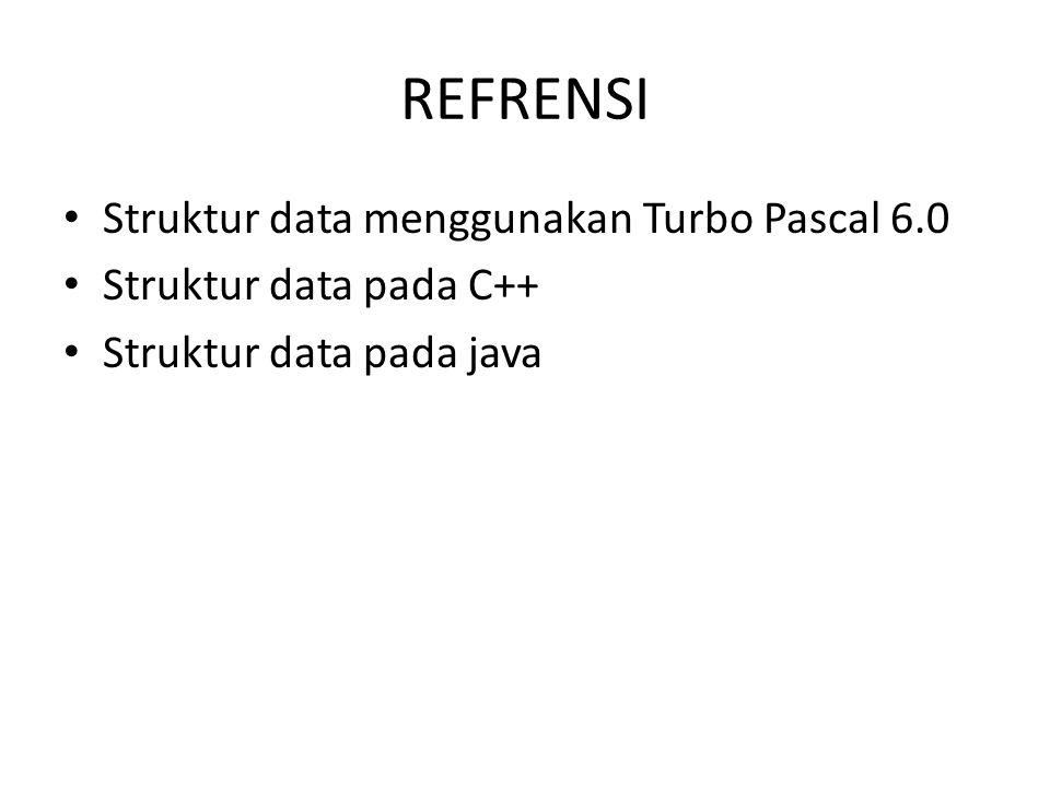 REFRENSI Struktur data menggunakan Turbo Pascal 6.0 Struktur data pada C++ Struktur data pada java