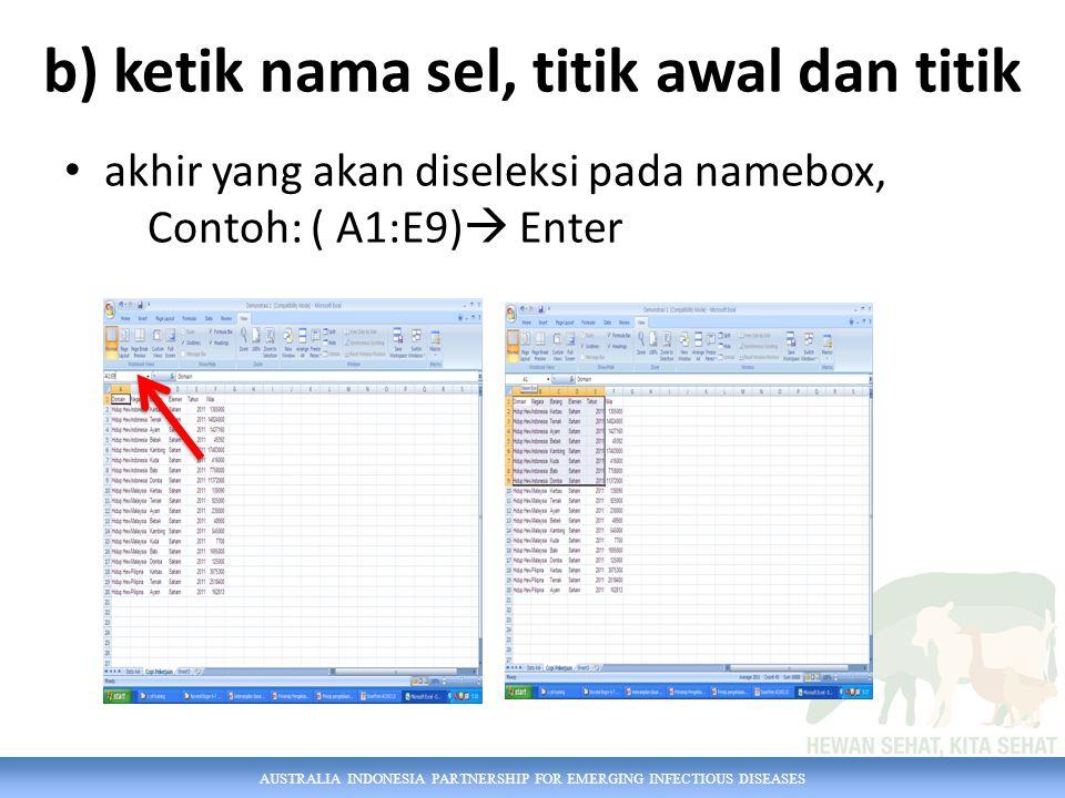 AUSTRALIA INDONESIA PARTNERSHIP FOR EMERGING INFECTIOUS DISEASES b) ketik nama sel, titik awal dan titik akhir yang akan diseleksi pada namebox, Contoh: ( A1:E9)  Enter