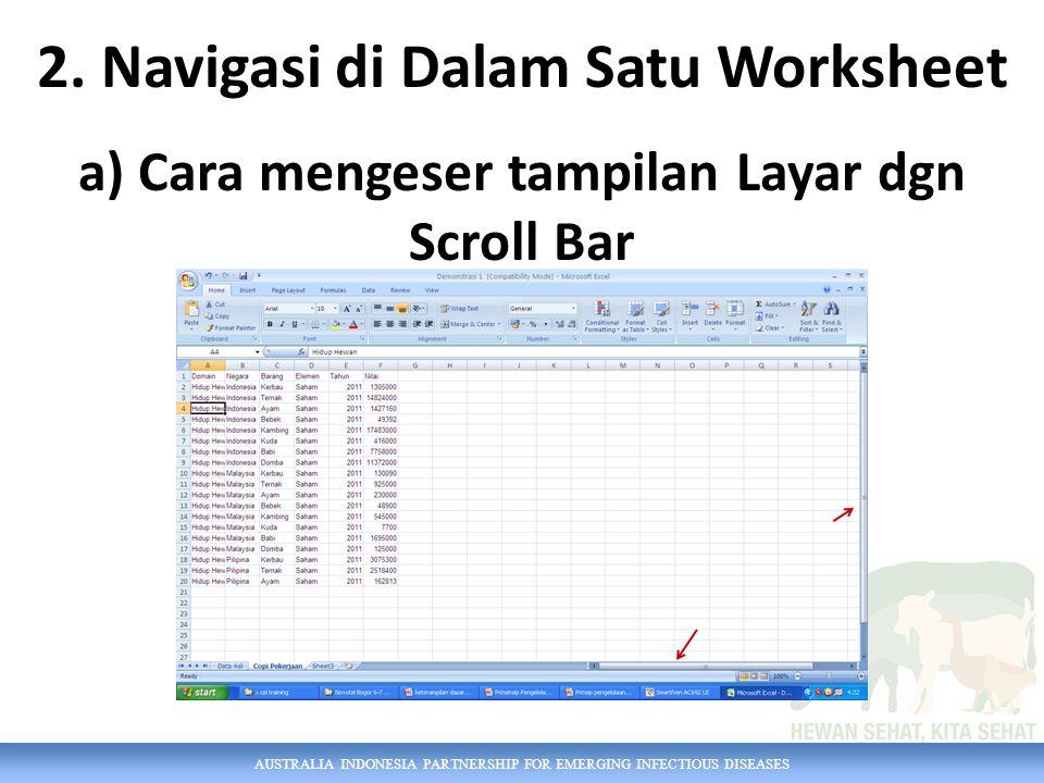 AUSTRALIA INDONESIA PARTNERSHIP FOR EMERGING INFECTIOUS DISEASES b) Navigasi dgn Sistem Menu Caranya : Home, Editing, Find & Select, Go To, pilih sel