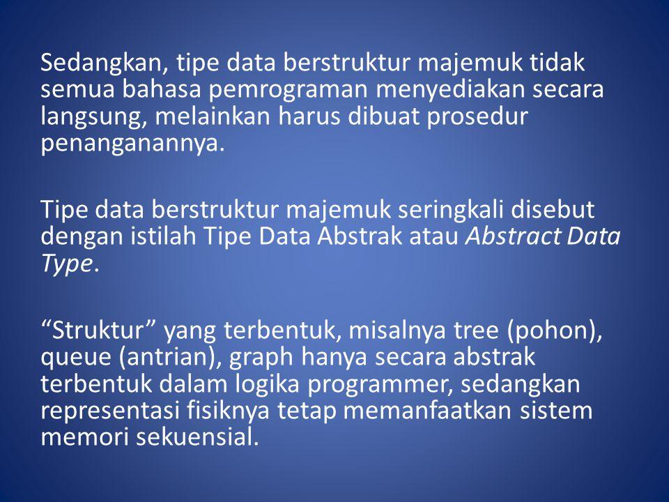 Sedangkan, tipe data berstruktur majemuk tidak semua bahasa pemrograman menyediakan secara langsung, melainkan harus dibuat prosedur penanganannya. Ti