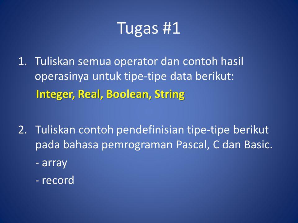 Tugas #1 1.Tuliskan semua operator dan contoh hasil operasinya untuk tipe-tipe data berikut: Integer, Real, Boolean, String 2.Tuliskan contoh pendefin
